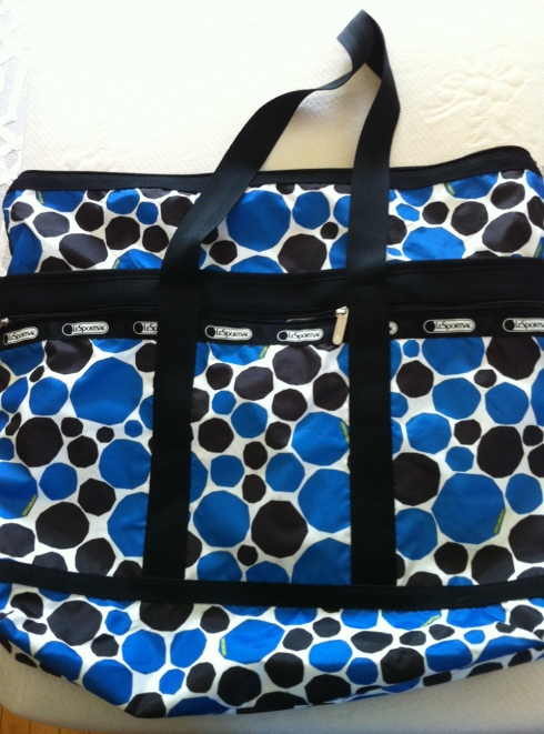Bag of choice: LeSportsac overnight bag